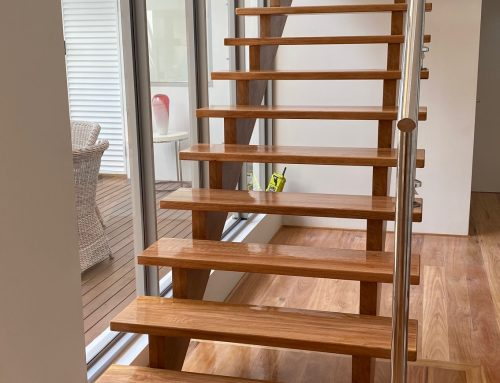 Blackbutt open tread staircase